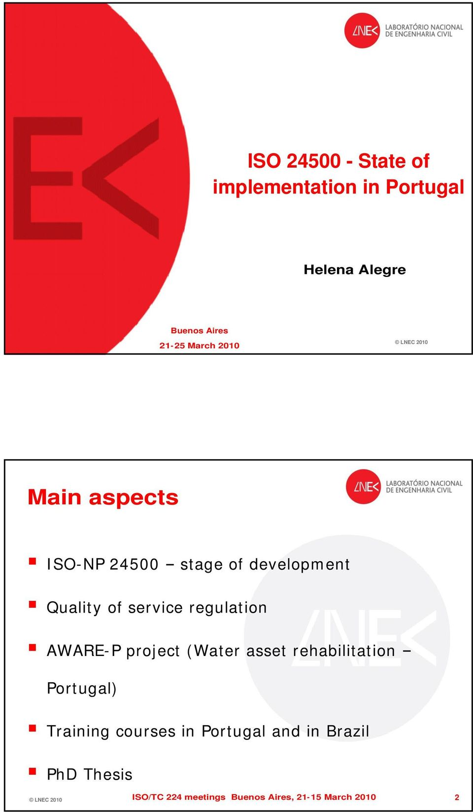 regulation AWARE-P project (Water asset rehabilitation Portugal) Training courses in