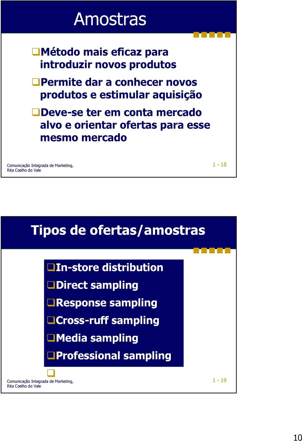 esse mesmo mercado 1-18 Tipos de ofertas/amostras In-store distribution Direct sampling