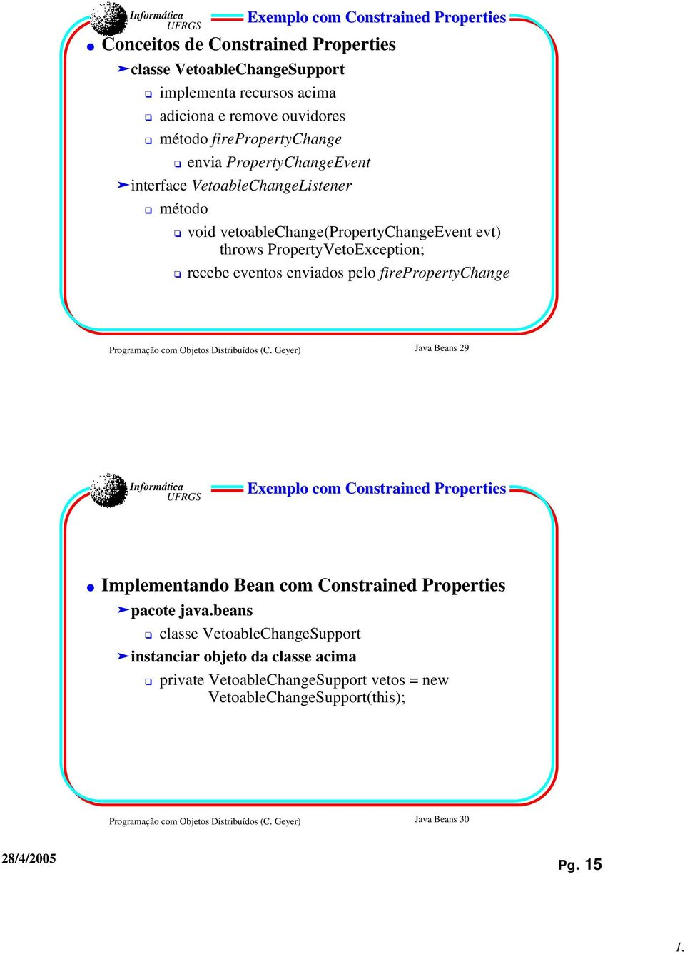 firepropertychange Programação com Objetos Distribuídos (C. Geyer) Java Beans 29 Exemplo com Constrained Properties Implementando Bean com Constrained Properties pacote java.