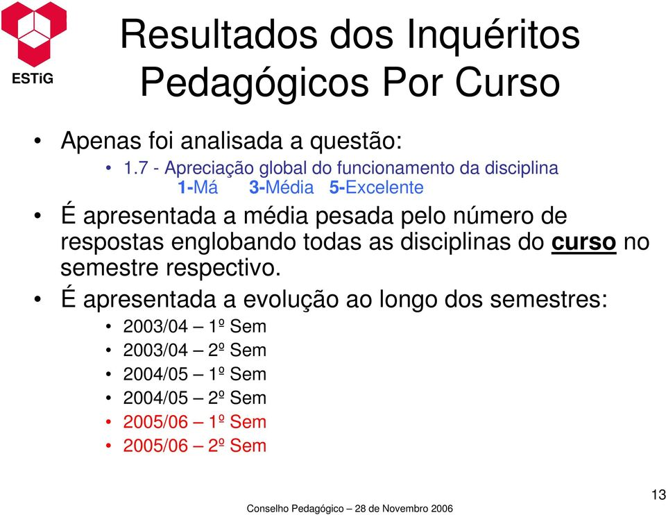 pesada pelo número de respostas englobando todas as disciplinas do curso no semestre respectivo.