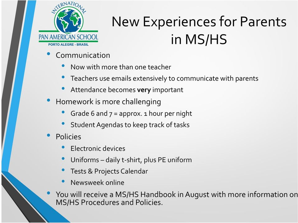 1 hour per night Student Agendas to keep track of tasks Policies Electronic devices Uniforms daily t shirt, plus PE uniform