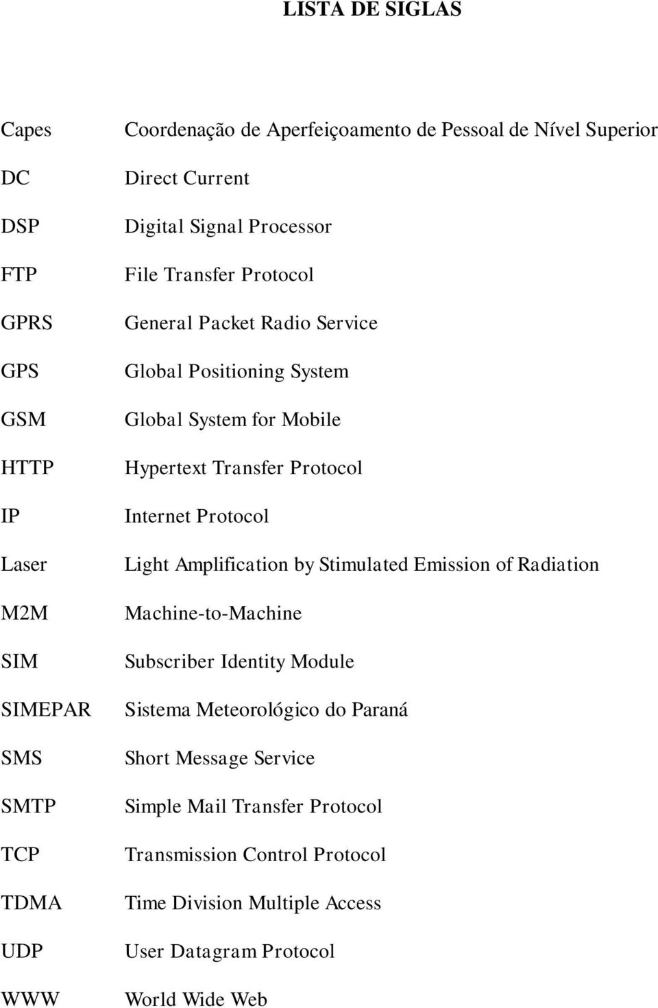 Hypertext Transfer Protocol Internet Protocol Light Amplification by Stimulated Emission of Radiation Machine-to-Machine Subscriber Identity Module Sistema