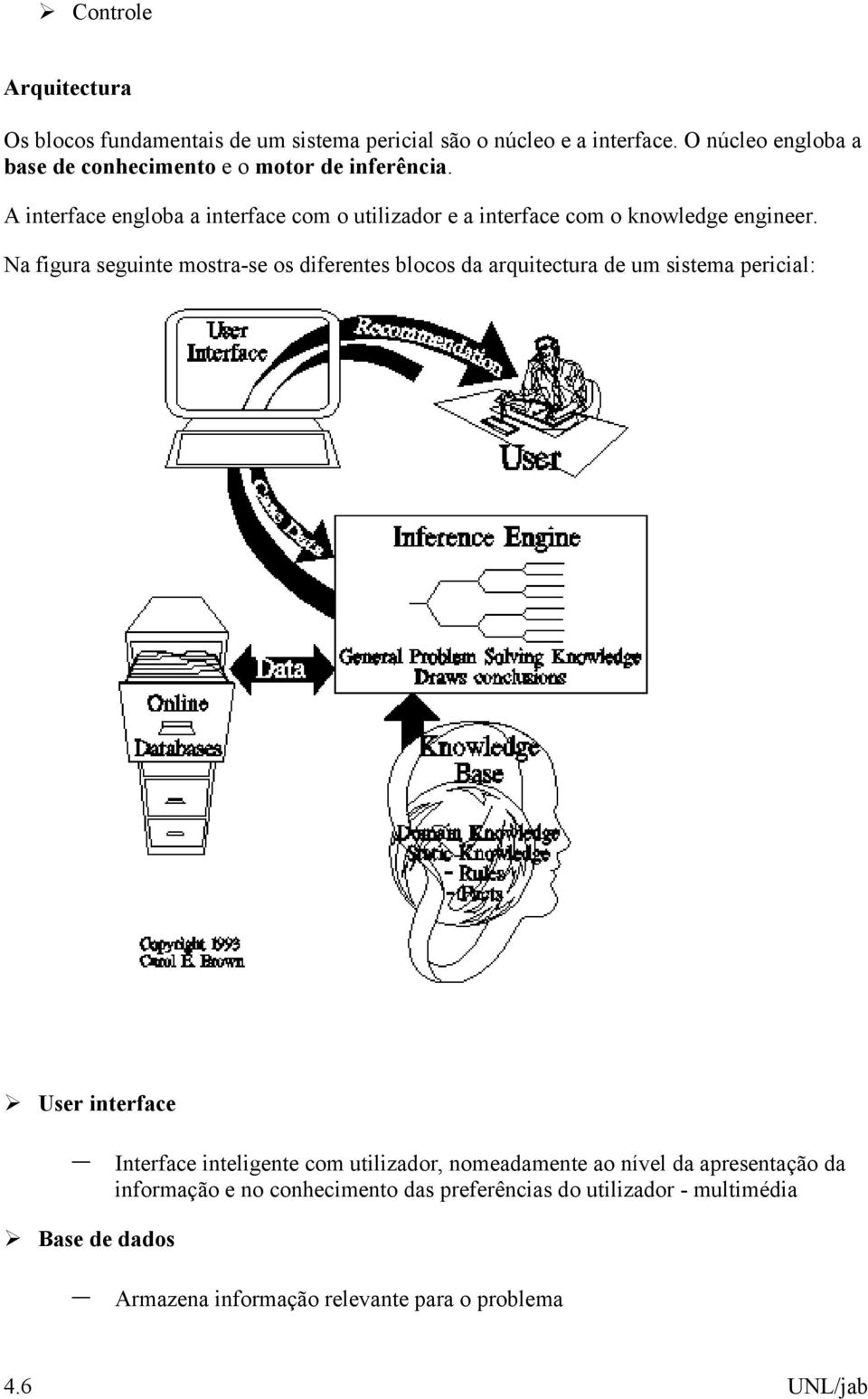 A interface engloba a interface com o utilizador e a interface com o knowledge engineer.