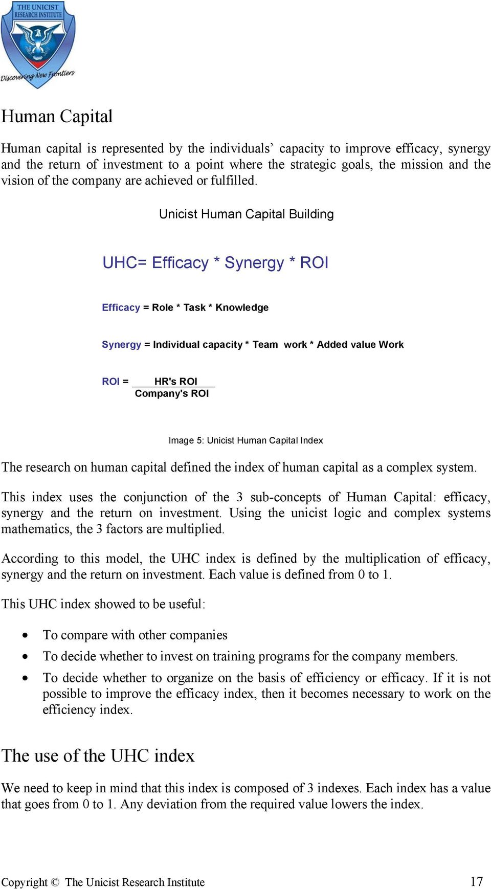 Unicist Human Capital Building UHC= Efficacy * Synergy * ROI Efficacy = Role * Task * Knowledge Synergy = Individual capacity * Team work * Added value Work ROI = HR's ROI Company's ROI Image 5: