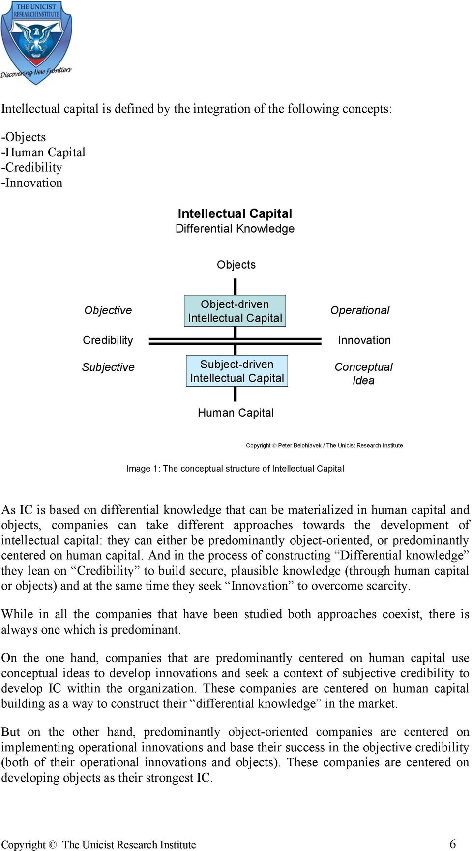 Institute Image 1: The conceptual structure of Intellectual Capital As IC is based on differential knowledge that can be materialized in human capital and objects, companies can take different