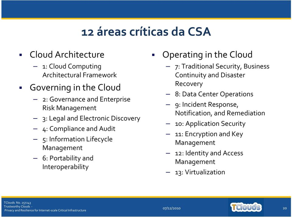 Operating in the Cloud 7: Traditional Security, Business Continuity and Disaster Recovery 8: Data Center Operations 9: Incident Response,