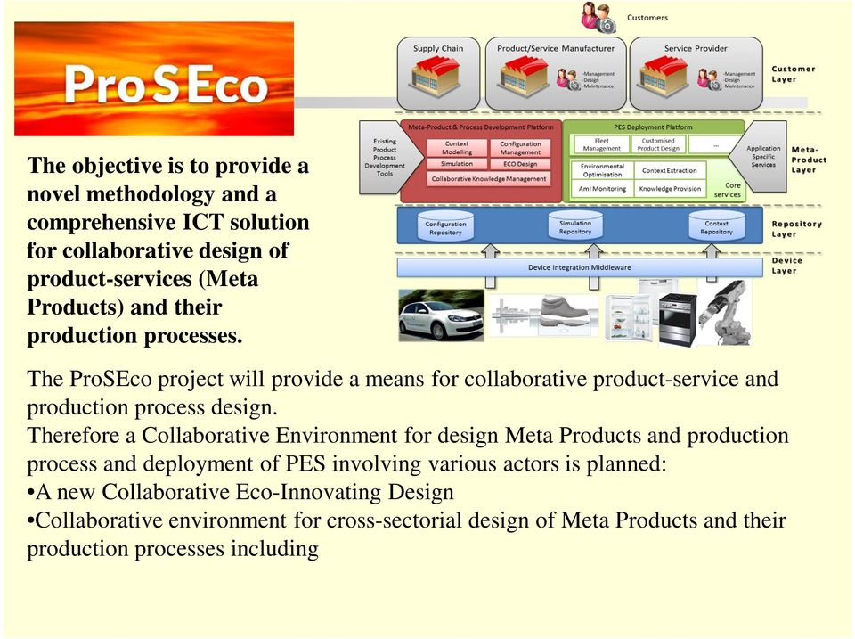 Therefore a Collaborative Environment for design Meta Products and production process and deployment of PES involving various actors is planned: