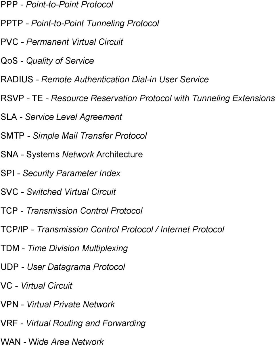Architecture SPI - Security Parameter Index SVC - Switched Virtual Circuit TCP - Transmission Control Protocol TCP/IP - Transmission Control Protocol / Internet Protocol