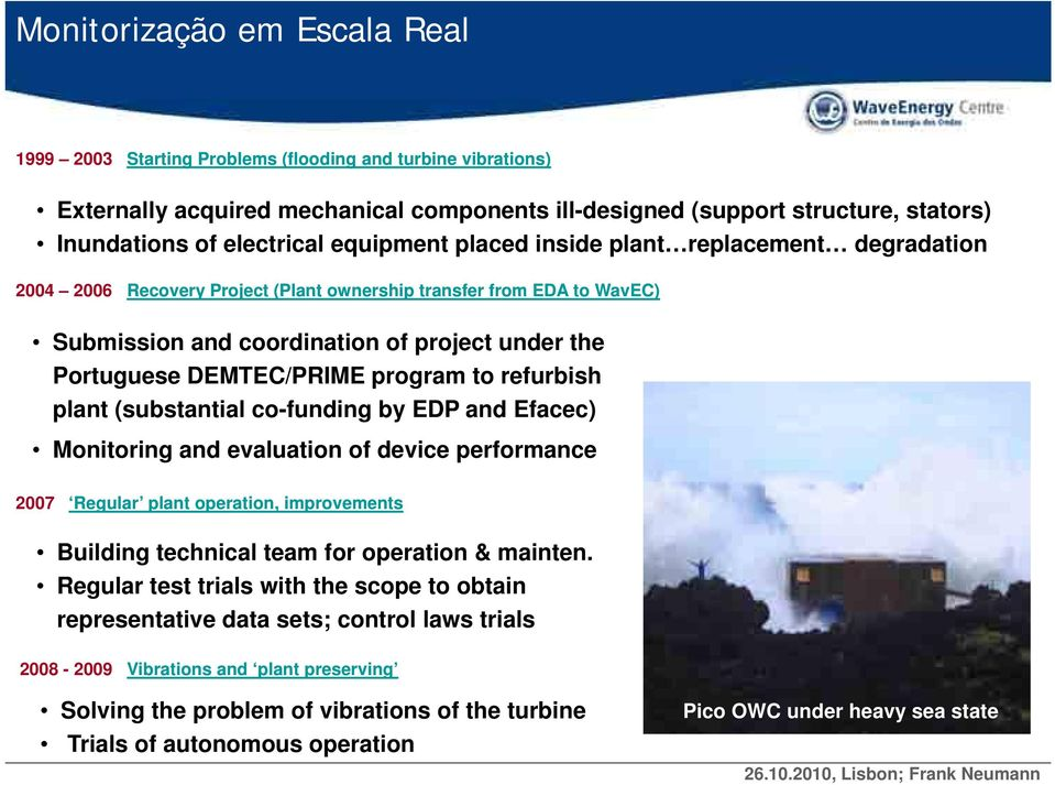 DEMTEC/PRIME program to refurbish plant (substantial co-funding by EDP and Efacec) Monitoring and evaluation of device performance 2007 Regular plant operation, improvements Building technical team