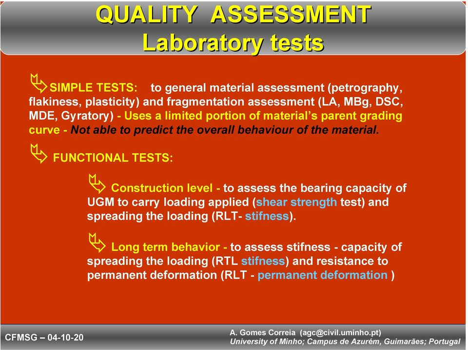 FUNCTIONAL TESTS: Construction level - to assess the bearing capacity of UGM to carry loading applied (shear strength test) and spreading the loading (RLT-