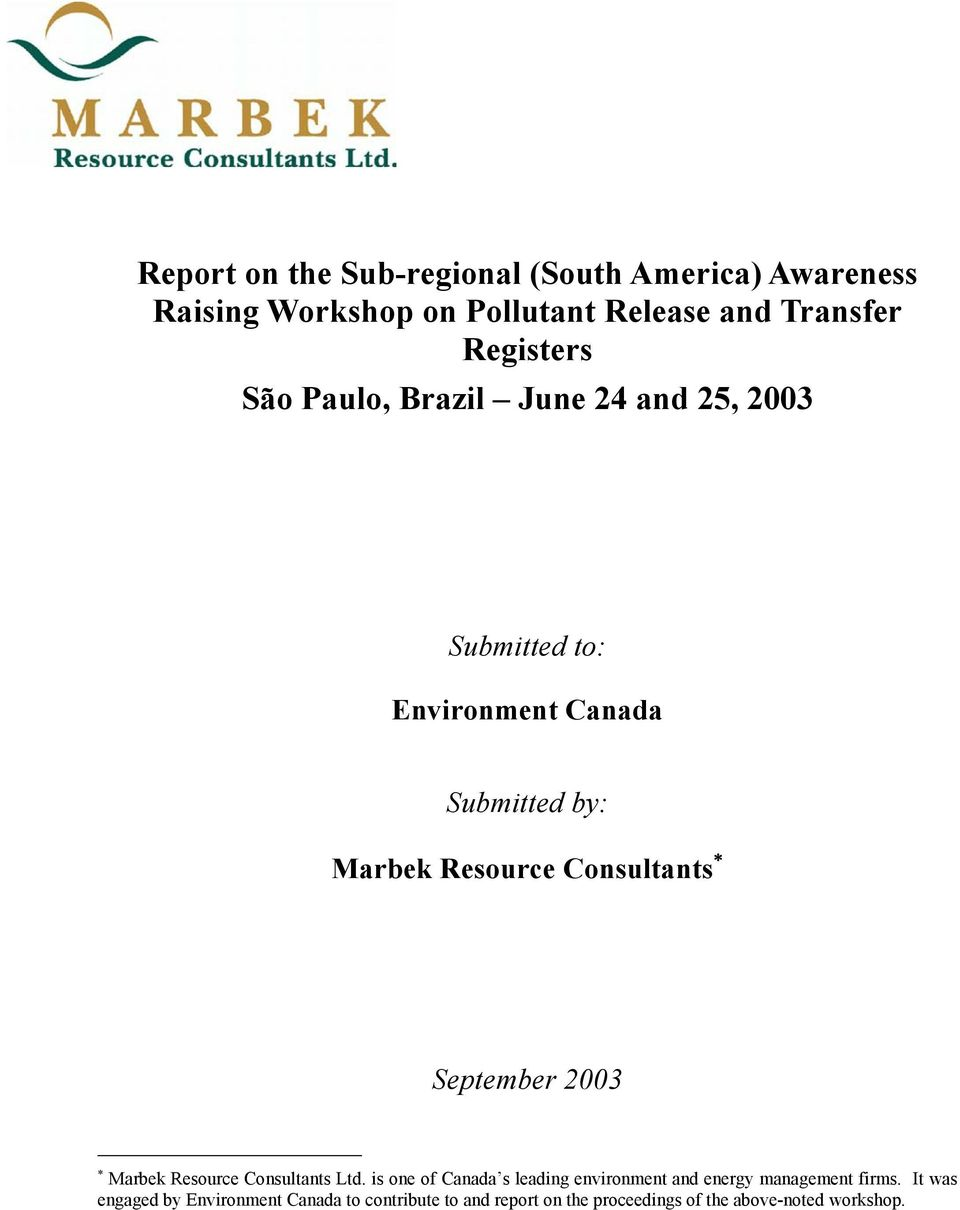 September 2003 Marbek Resource Consultants Ltd.
