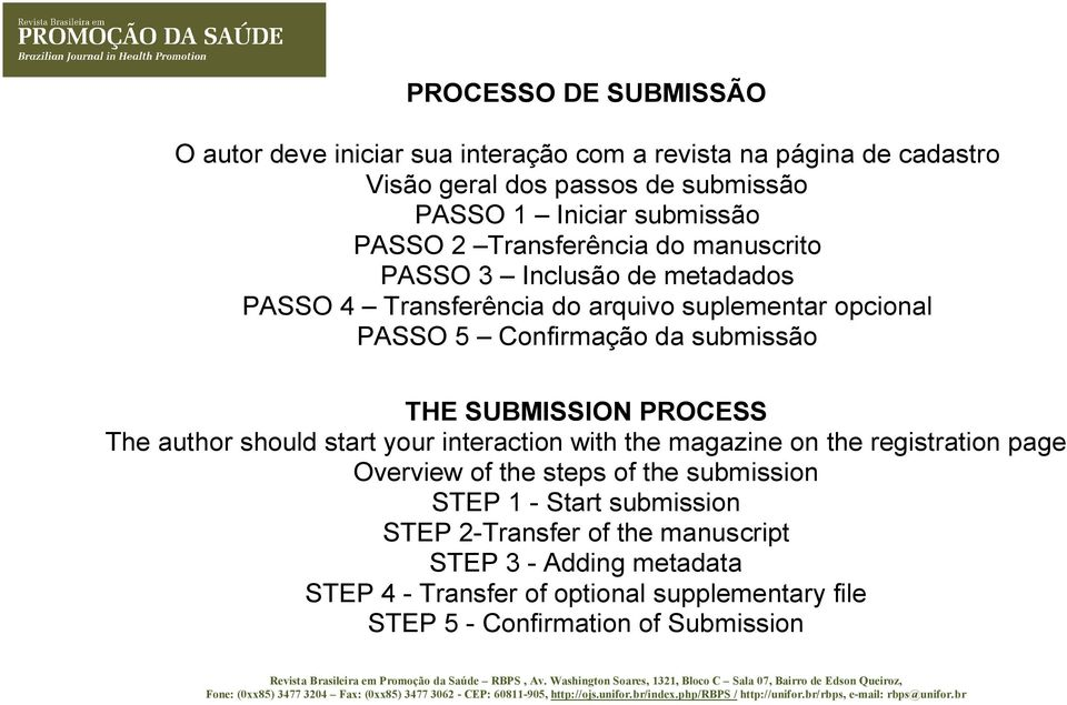 THE SUBMISSION PROCESS The author should start your interaction with the magazine on the registration page Overview of the steps of the submission STEP 1 -