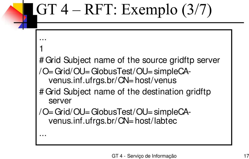 br/ CN= host/ venus # Grid Subject name of the destination gridftp server