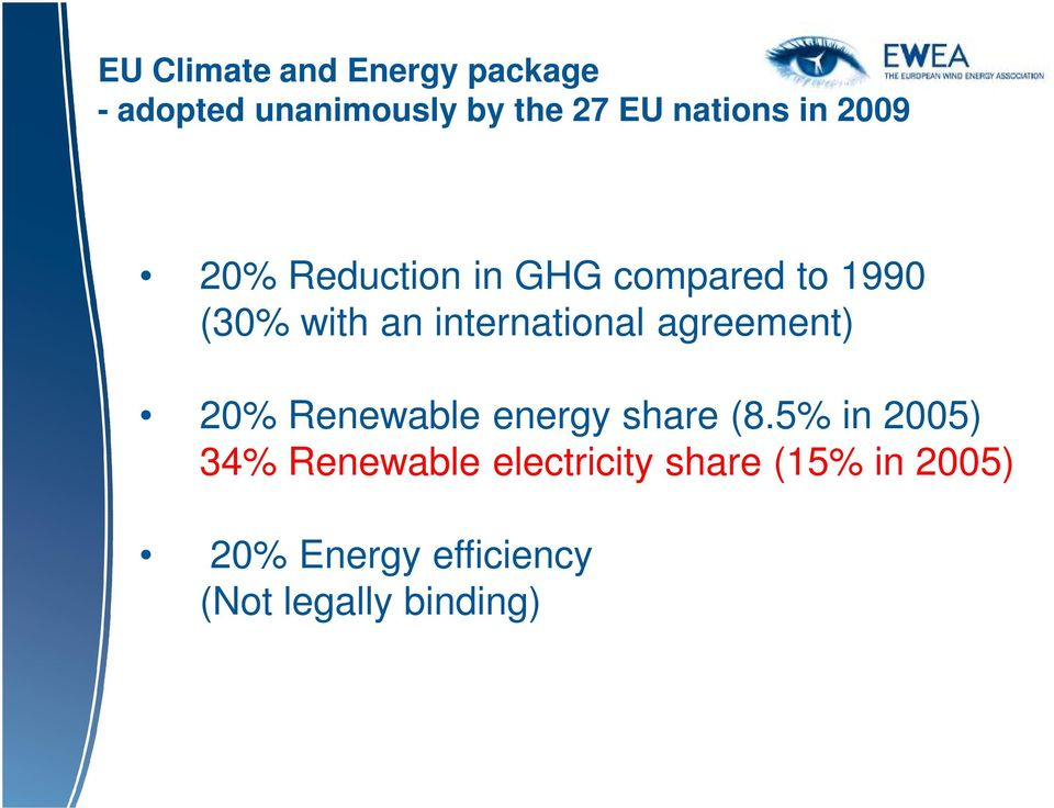international agreement) 20% Renewable energy share (8.