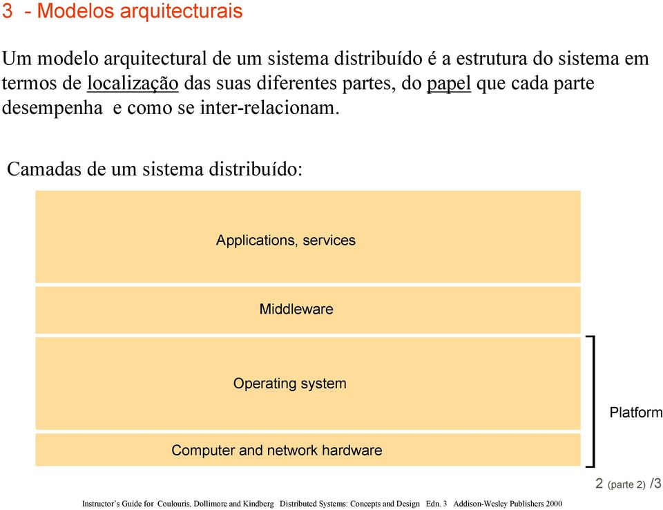 Camadas de um sistema distribuído: Applications, services Middleware Operating system Platform Computer and network