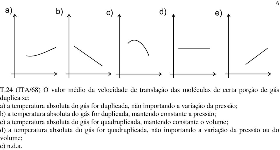for duplicada, mantendo constante a pressão; c) a temperatura absoluta do gás for quadruplicada, mantendo constante