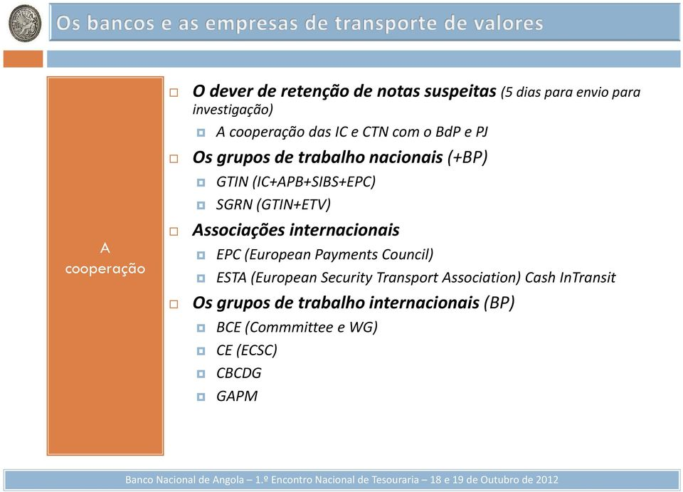 (GTIN+ETV) Associações internacionais EPC (European Payments Council) ESTA (European Security Transport
