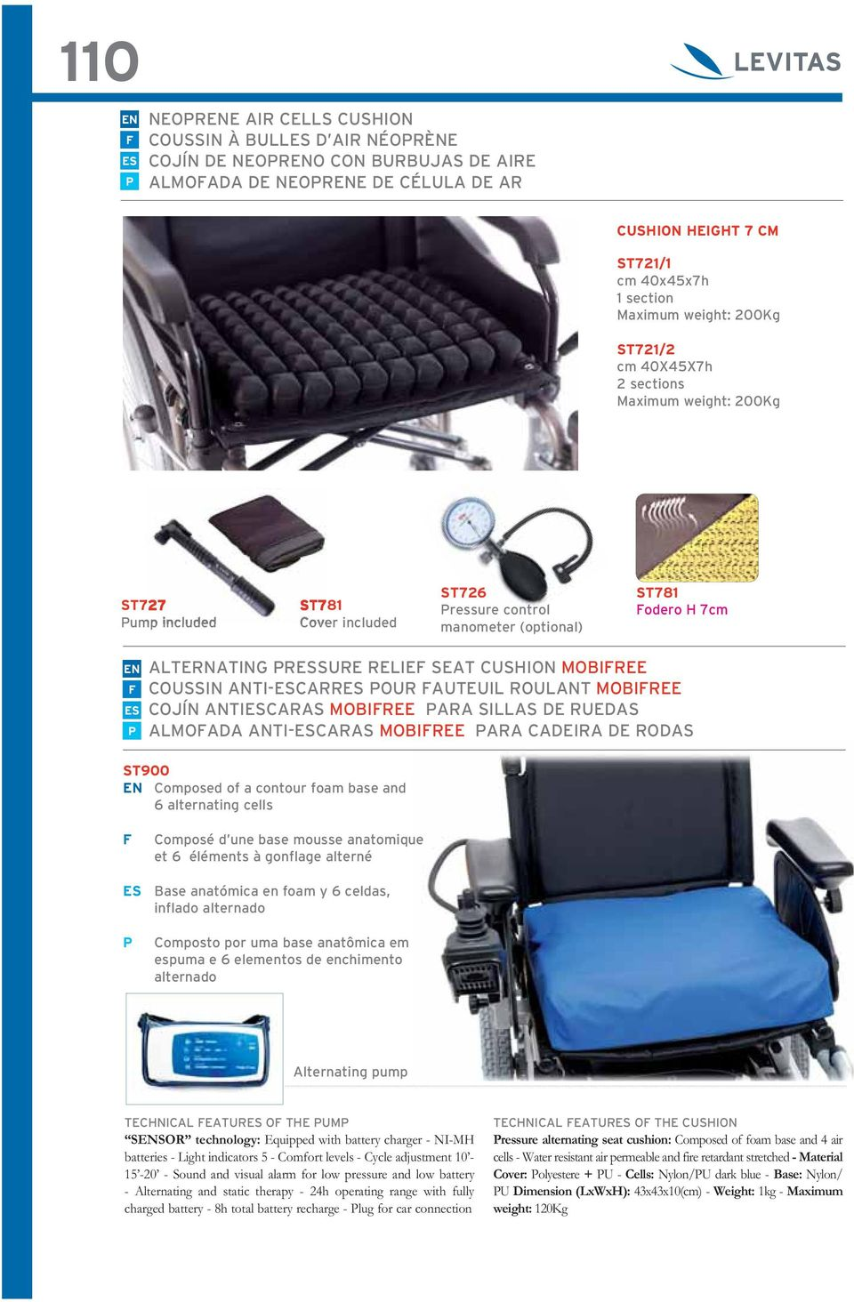 Plug for car connection Pressure alternating seat cushion: Composed of foam base and 4 air cells - Water resistant air permeable and fire retardant