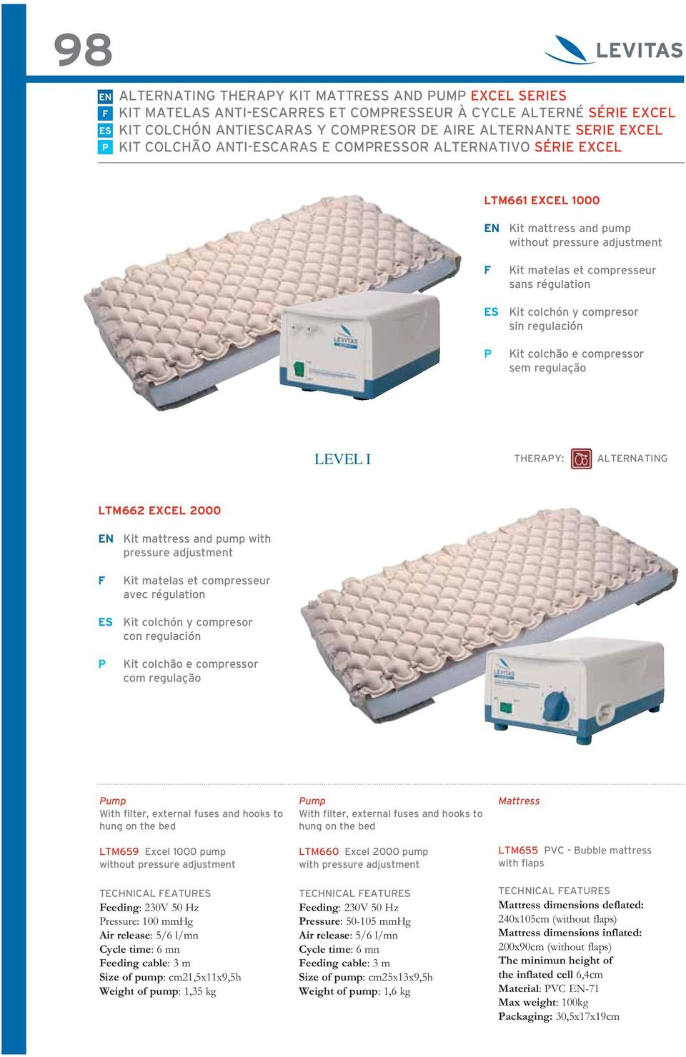 cable: 3 m Size of pump: cm25x13x9,5h Weight of pump: 1,6 kg Mattress dimensions deflated: 240x105cm (without flaps) Mattress