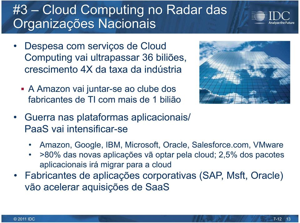 vai intensificar-se Amazon, Google, IBM, Microsoft, Oracle, Salesforce.