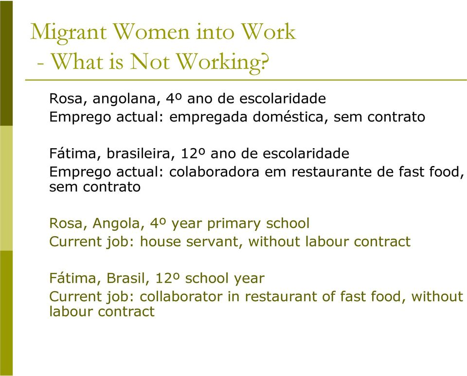 contrato Rosa, Angola, 4º year primary school Current job: house servant, without labour contract