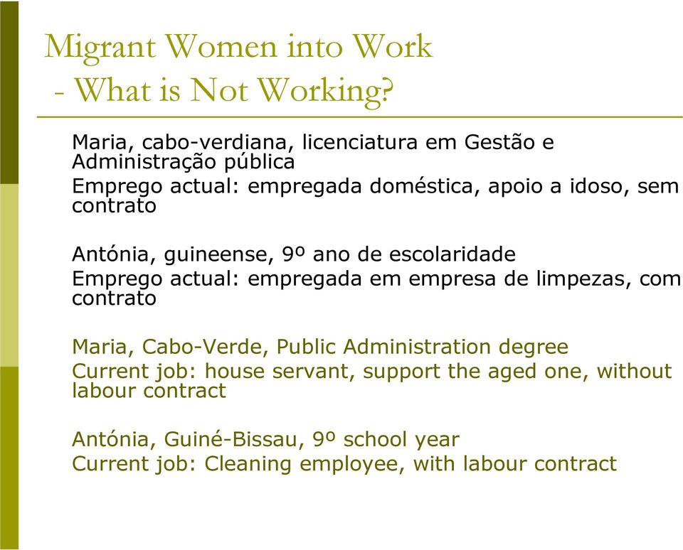 limpezas, com contrato Maria, Cabo-Verde, Public Administration degree Current job: house servant, support the