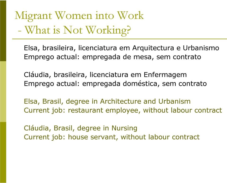 contrato Elsa, Brasil, degree in Architecture and Urbanism Current job: restaurant employee,