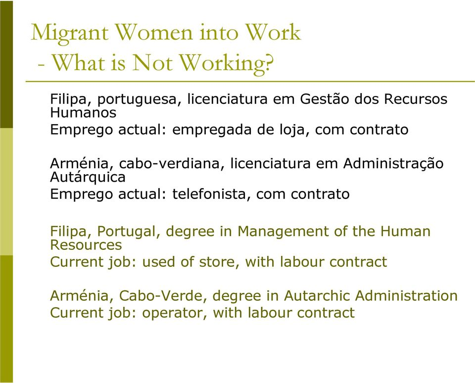 contrato Filipa, Portugal, degree in Management of the Human Resources Current job: used of store, with