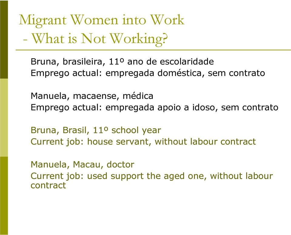 contrato Bruna, Brasil, 11º school year Current job: house servant, without labour