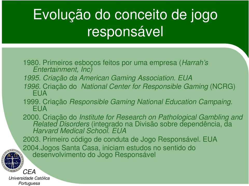 Criação Responsible Gaming National Education Campaing. EUA 2000.