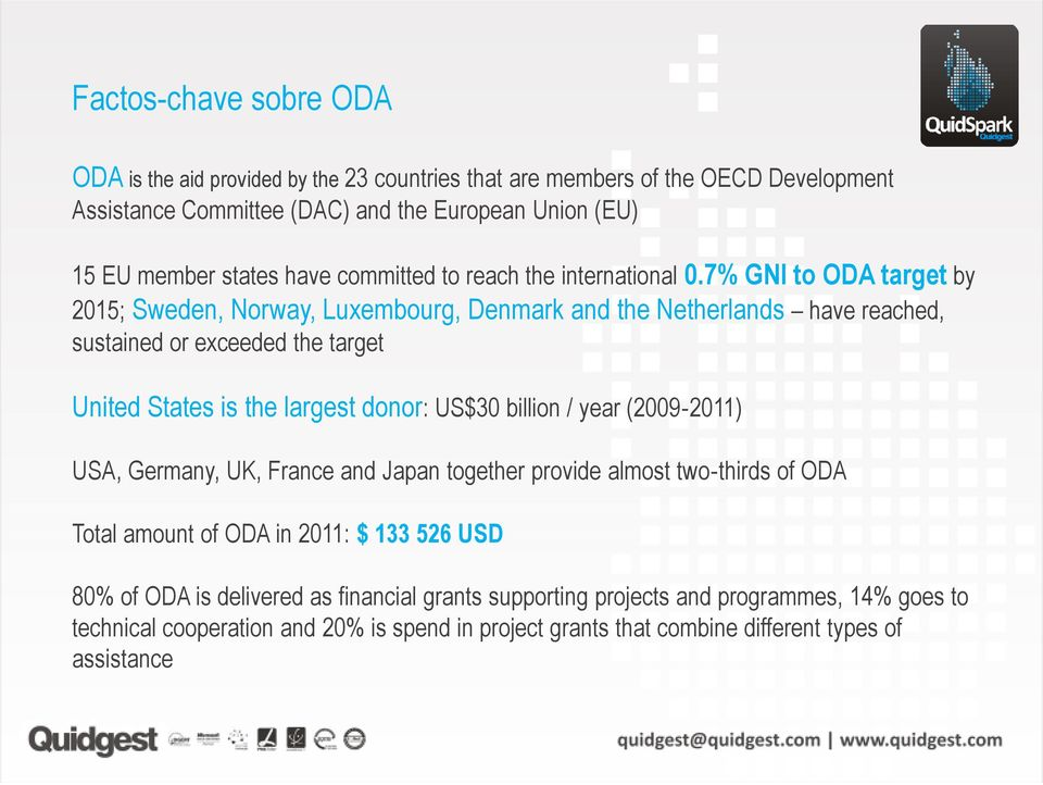 7% GNI to ODA target by 2015; Sweden, Norway, Luxembourg, Denmark and the Netherlands have reached, sustained or exceeded the target United States is the largest donor: US$30 billion /