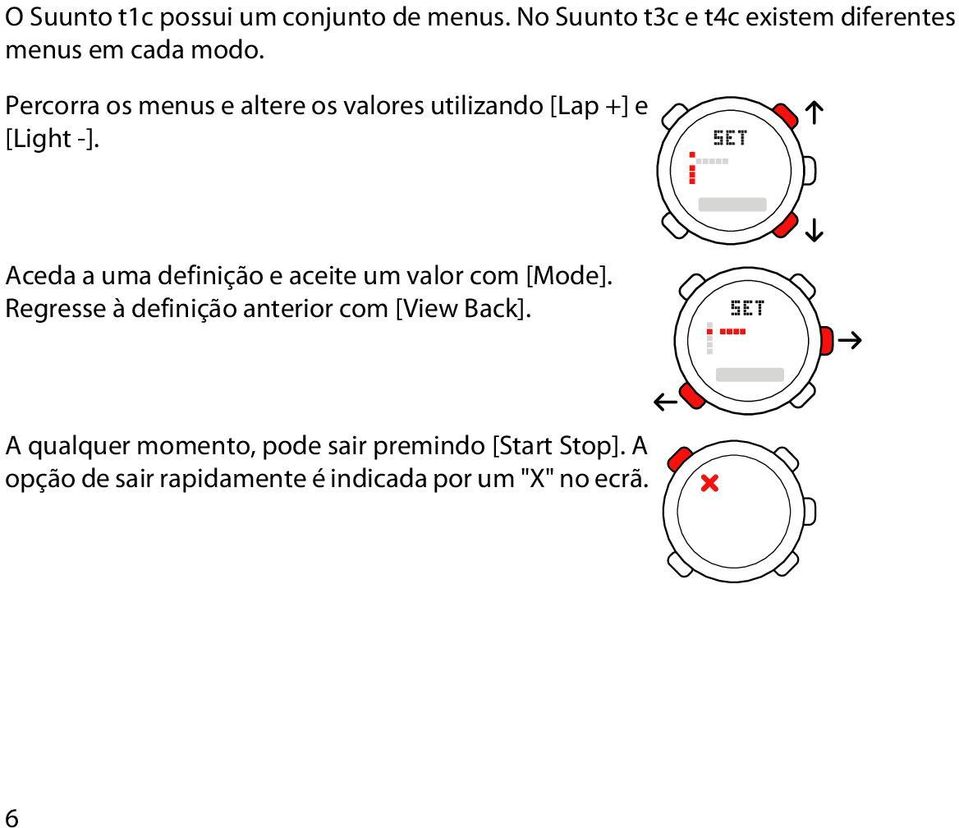 Percorra os menus e altere os valores utilizando [Lap +] e [Light -].