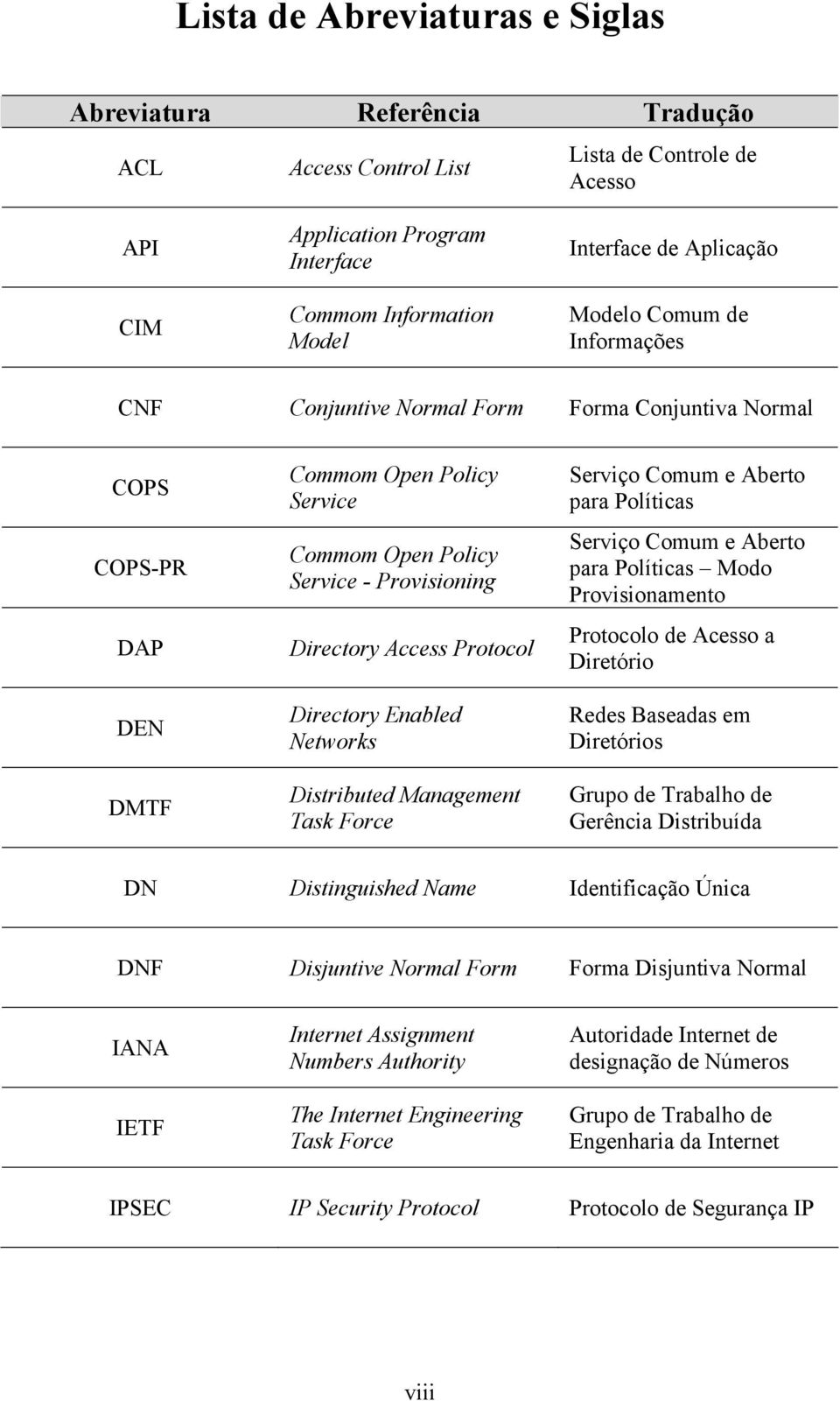 Access Protocol Directory Enabled Networks Distributed Management Task Force Serviço Comum e Aberto para Políticas Serviço Comum e Aberto para Políticas Modo Provisionamento Protocolo de Acesso a