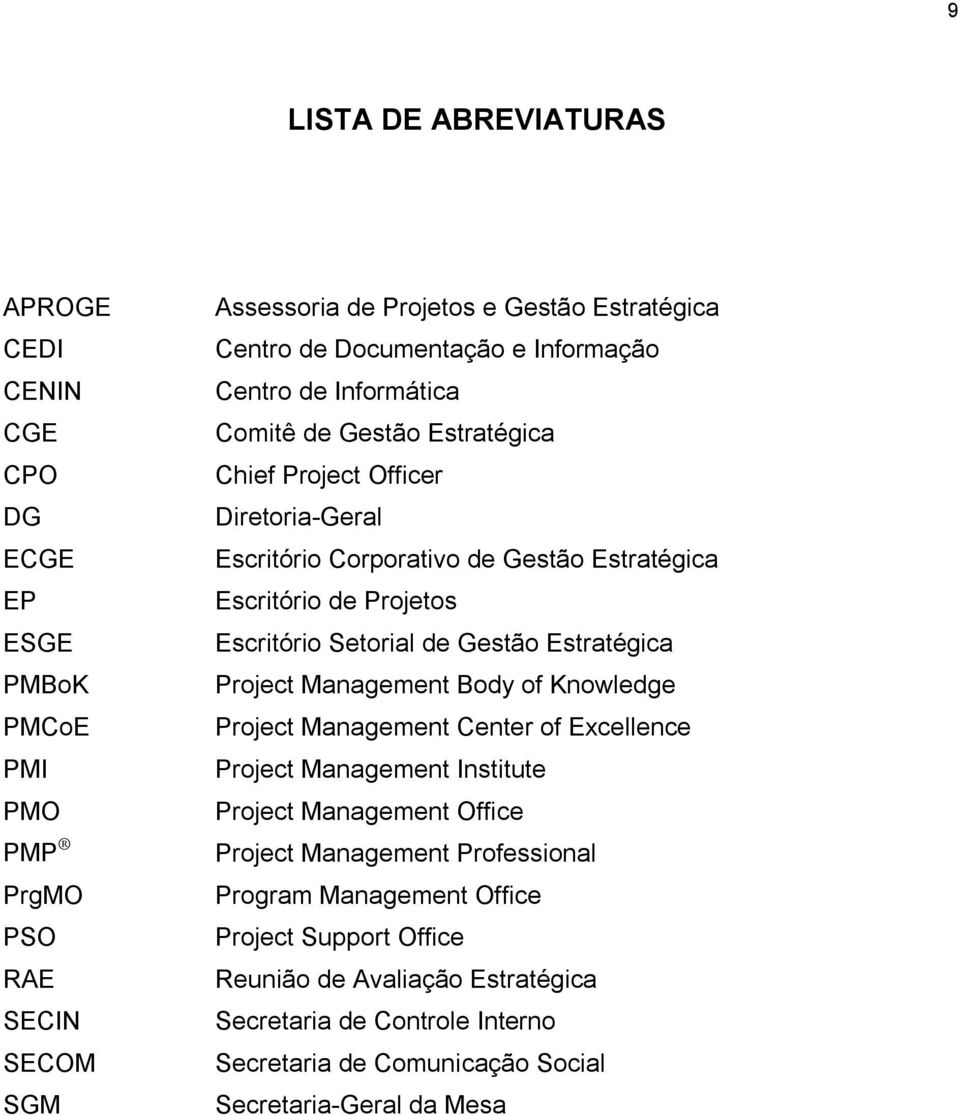 Escritório Setorial de Gestão Estratégica Project Management Body of Knowledge Project Management Center of Excellence Project Management Institute Project Management Office Project