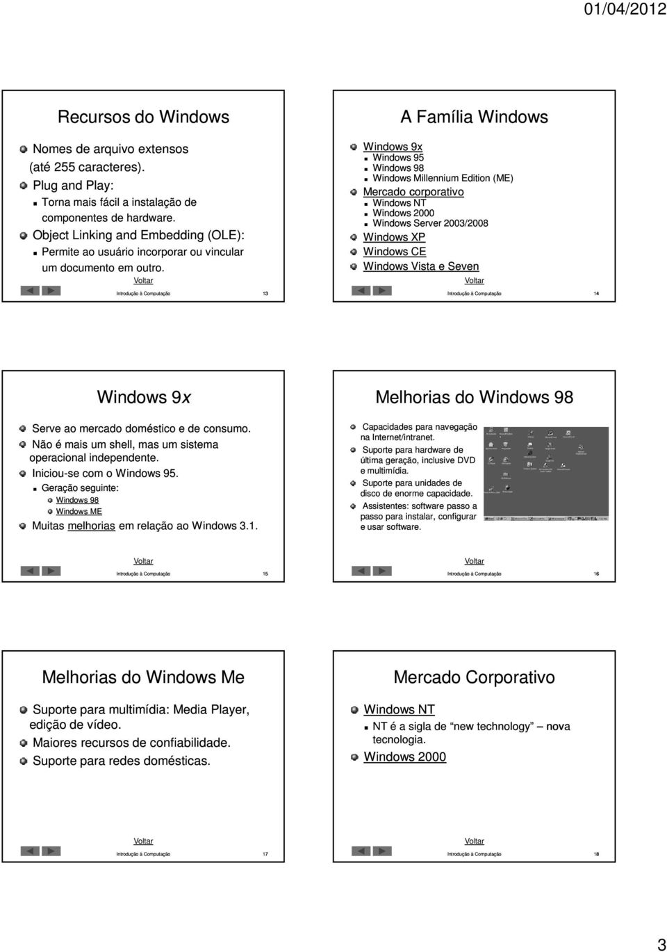 Windows 9x Windows 95 Windows 98 Windows Millennium Edition (ME) Mercado corporativo Windows NT Windows 2000 Windows Server 2003/2008 Windows XP Windows CE Windows Vista e Seven 13 14 Windows 9x