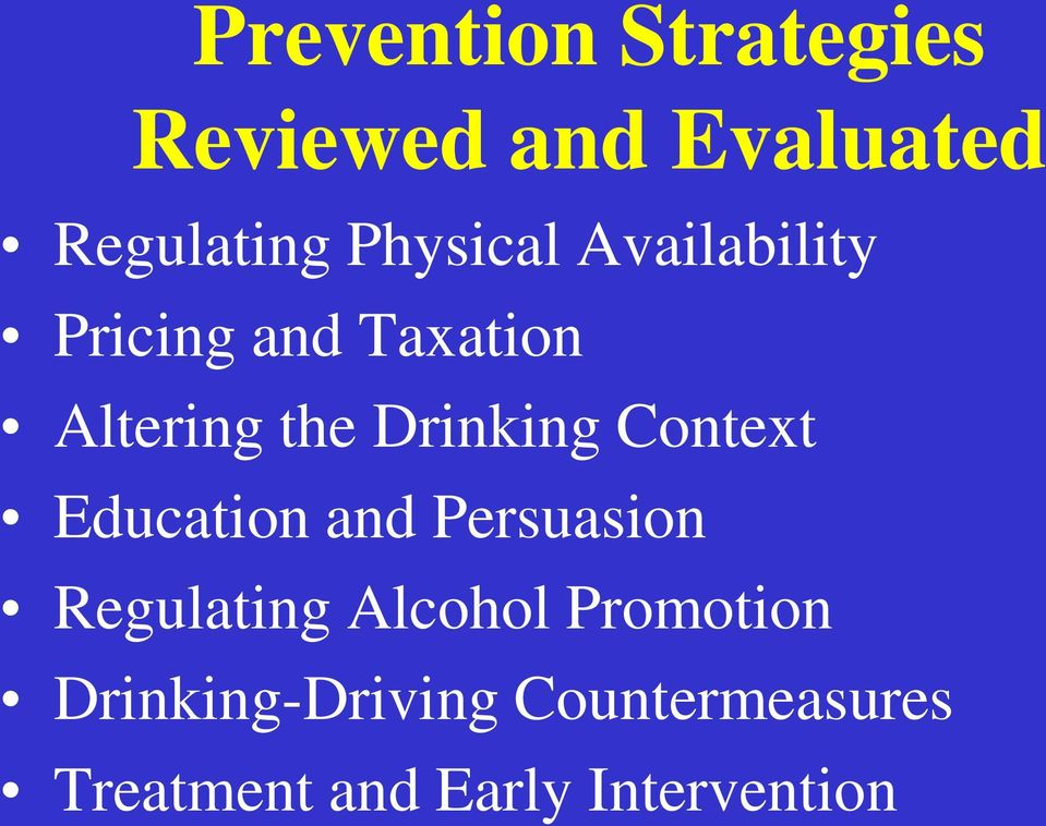 Drinking Context Education and Persuasion Regulating Alcohol