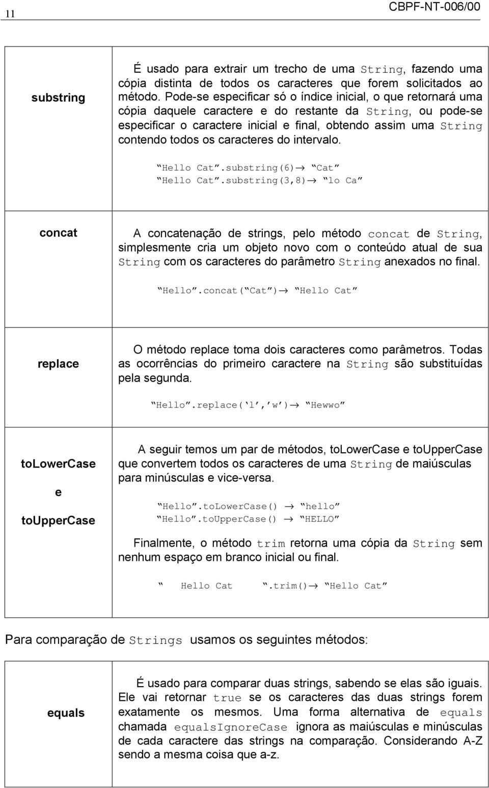todos os caracteres do intervalo. Hello Cat.substring(6) Cat Hello Cat.