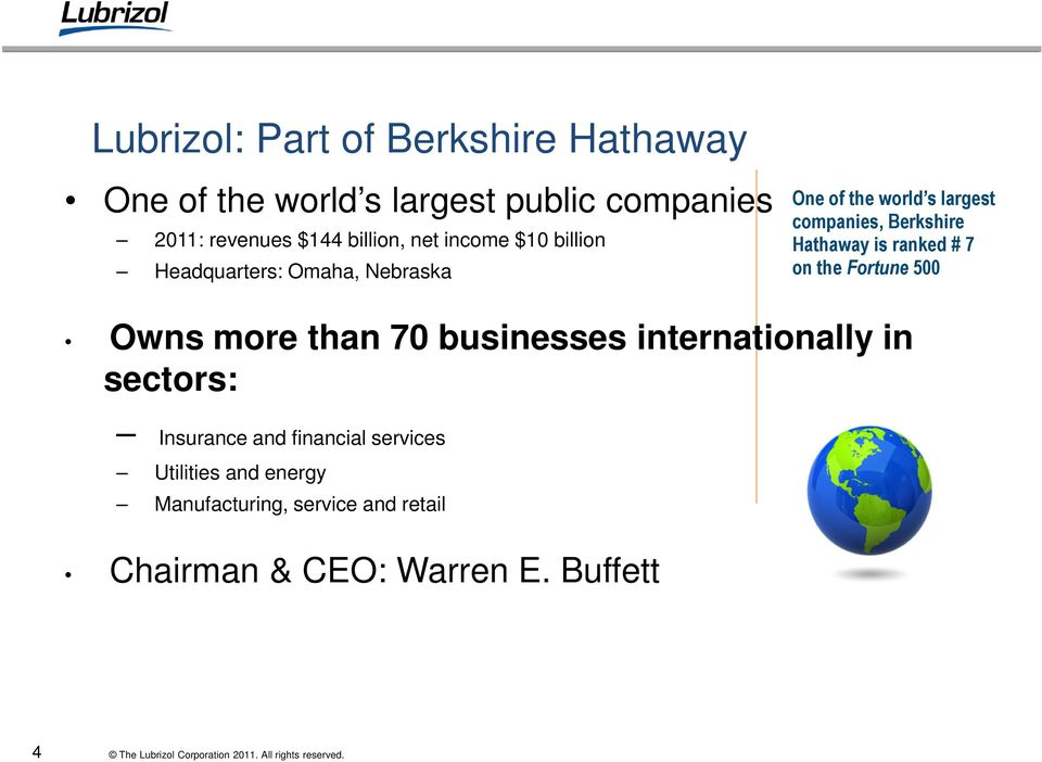 Berkshire Hathaway is ranked # 7 on the Fortune 500 Owns more than 70 businesses internationally in sectors: