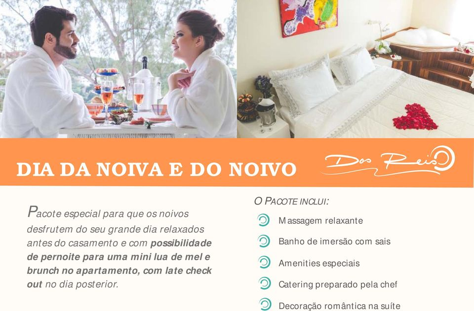 brunch no apartamento, com late check out no dia posterior.