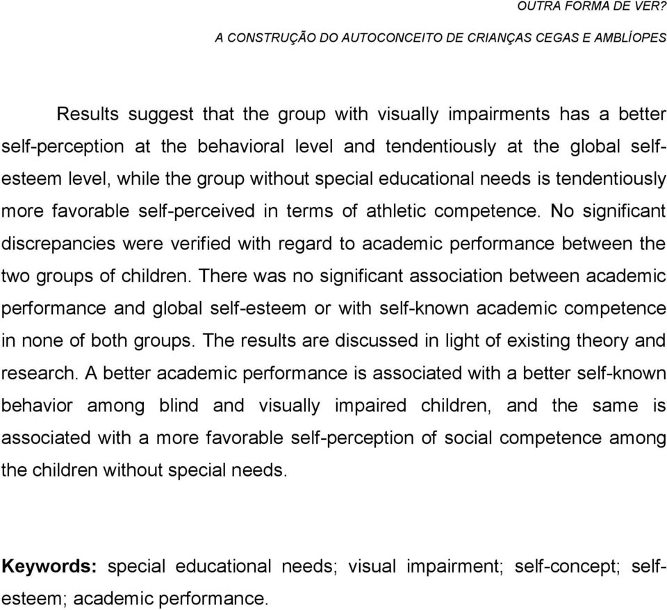 No significant discrepancies were verified with regard to academic performance between the two groups of children.