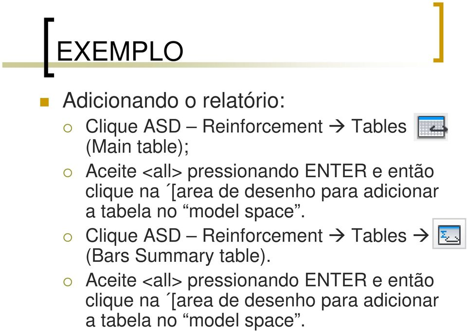 model space. Clique ASD Reinforcement Tables (Bars Summary table).