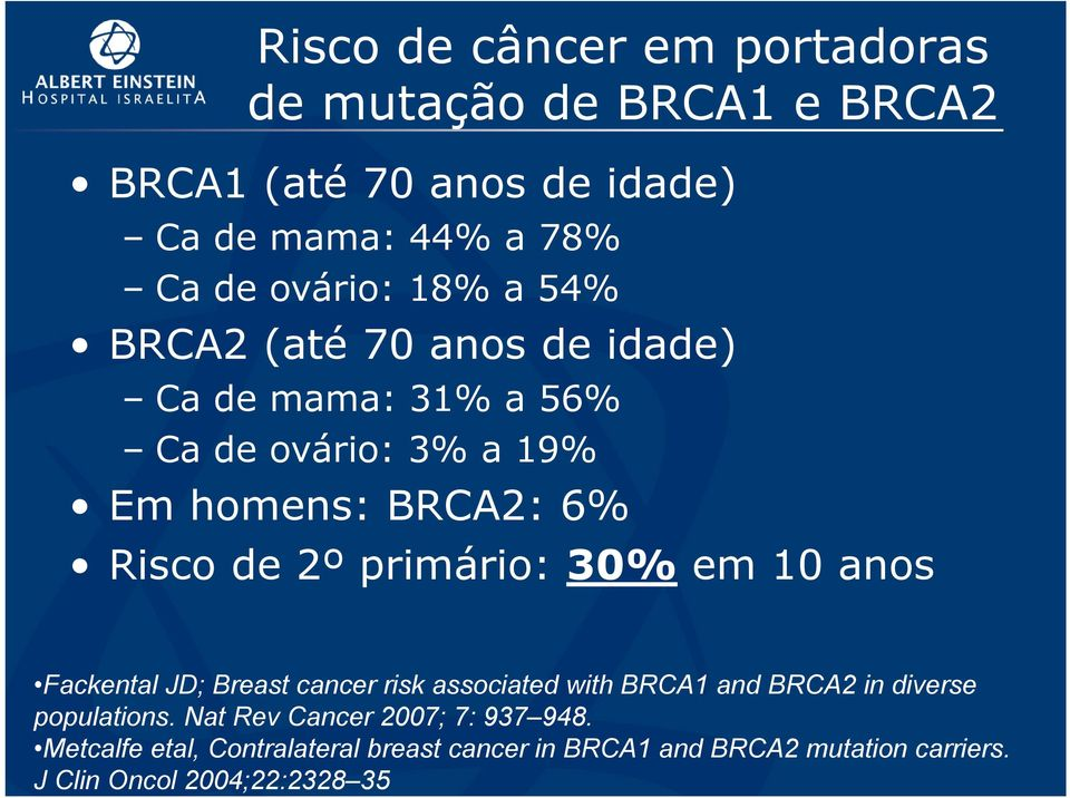 primário: 30% em 10 anos Fackental JD; Breast cancer risk associated with BRCA1 and BRCA2 in diverse populations.