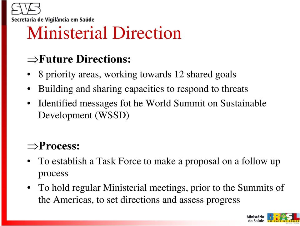 Development (WSSD) Process: To establish a Task Force to make a proposal on a follow up process To