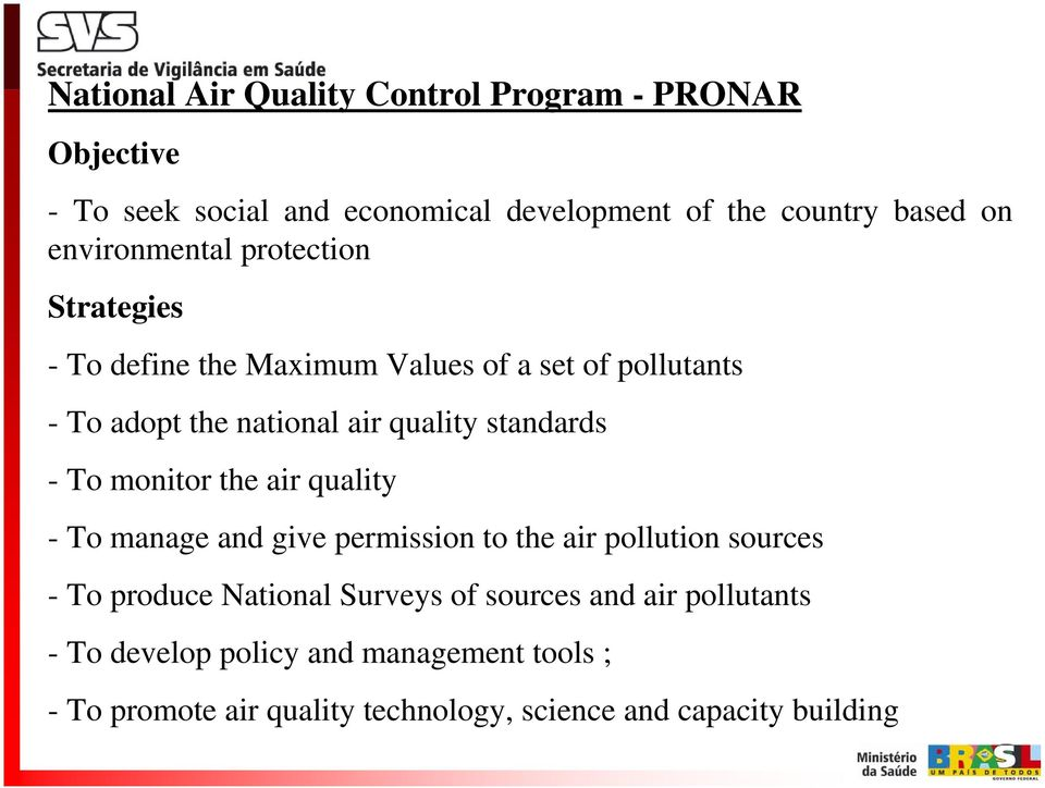 standards - To monitor the air quality - To manage and give permission to the air pollution sources - To produce National Surveys