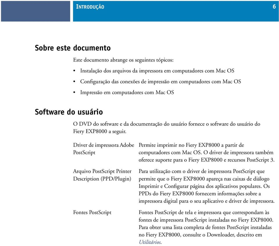 Driver de impressora Adobe PostScript Arquivo PostScript Printer Description (PPD/Plugin) Fontes PostScript Permite imprimir no Fiery EXP8000 a partir de computadores com Mac OS.