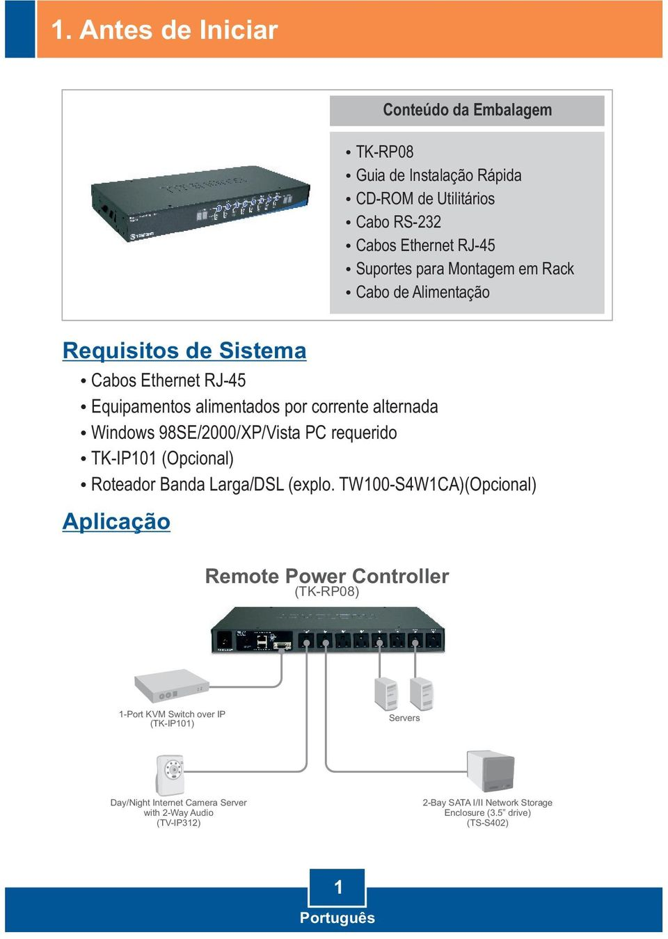 98SE/2000/XP/Vista PC requerido TK-IP101 (Opcional) Roteador Banda Larga/DSL (explo.