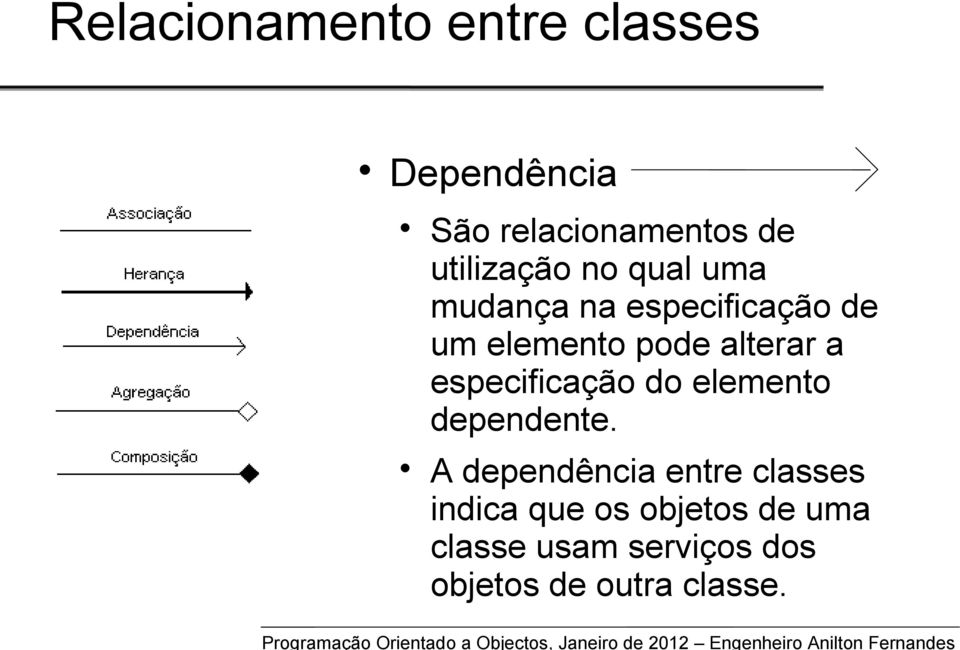especificação do elemento dependente.