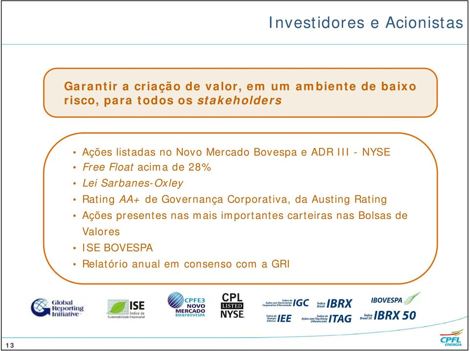 Lei Sarbanes-Oxley Rating AA+ de Governança Corporativa, da Austing Rating Ações presentes nas