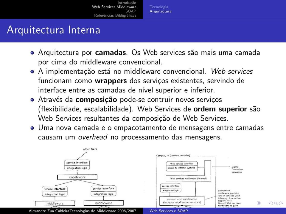 Web services funcionam como wrappers dos serviços existentes, servindo de interface entre as camadas de nível superior e inferior.