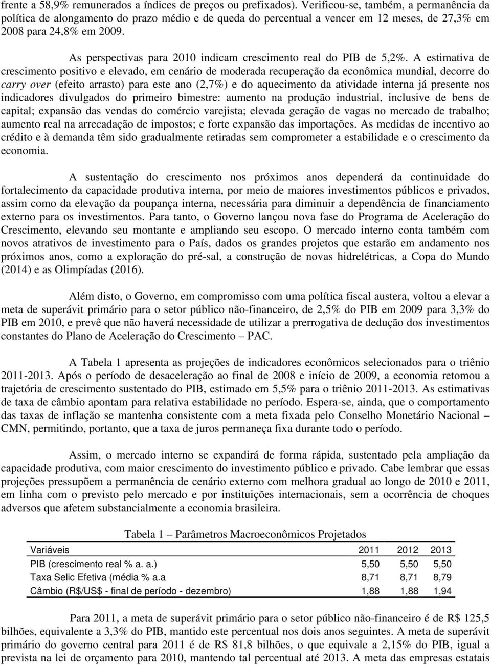 As perspectivas para 2010 indicam crescimento real do PIB de 5,2%.